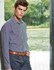 Men`s Microcheck (Gingham) Long Sleeve Shirt